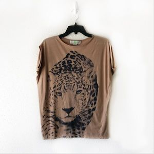 Stella McCartney Cheetah Face Graphic Tee Size 8